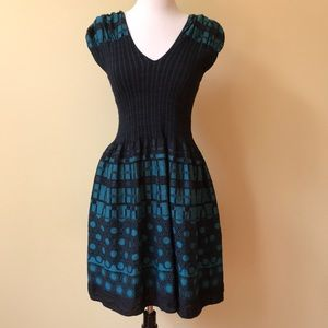 Studio M Stretchy Black Cap Sleeve Tea Party Dress